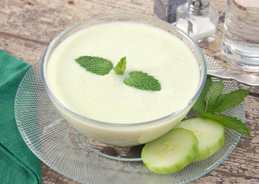 Chilled cucumber soup is easy and hydrating.