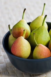 Eating the pear with the skin is healthiest.
